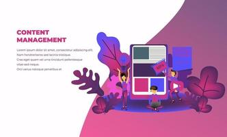 content management illustration for business with tiny people character,  landing page, template