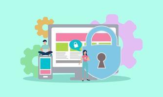 concepto de carácter del sistema de protección de datos, las personas protegen sus datos en la ilustración de vector de dispositivo, se puede utilizar para, página de destino, plantilla, interfaz de usuario, web, aplicación móvil, póster, pancarta, folleto - vector