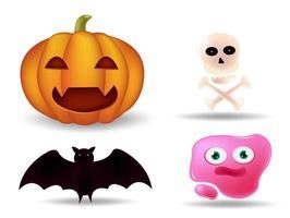 Helloaween cute emoticons, emoji set vector