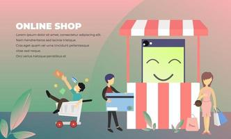 Online Shopping Ecommerce Tiny People Character Illustration, Suitable For Wallpaper, Banner, Background, Card, Book Illustration, Web Landing Page, and Other Related Creative vector