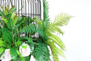 jaula de pájaros y hojas tropicales.