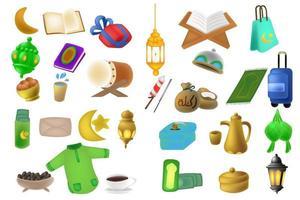Ramadan kareem cute icon set Background illustration vector