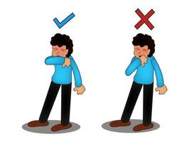 personaje estornudando y tosiendo bien y mal. recomendación médica sobre cómo estornudar correctamente. prevención contra virus e infecciones. concepto de higiene. vector