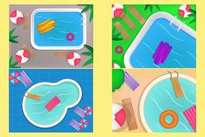 Top view of swimming pool with clean water. Summer time concept. vector