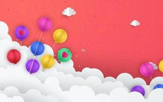 Paper art of balloons in clouds, Happy birthday celebration art and illustration. vector