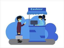 People wearing a mask doing social distancing while standing in a queue in the Shopping mall. People holding a shopping basket and waiting for the payment. Illustration about the new normal. vector