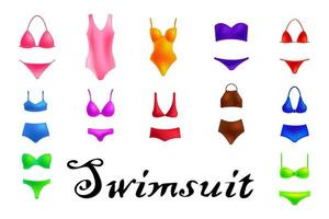 Set of fashionable swimsuits. Various types of girls beach clothes. Modern and retro models vector