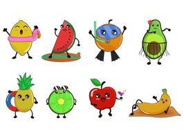 Fruit cute cartoon characters for summer. vector