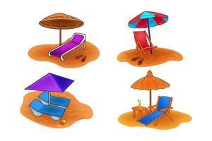 Beach parasol and beach chair shunshade. Summer time concept. vector