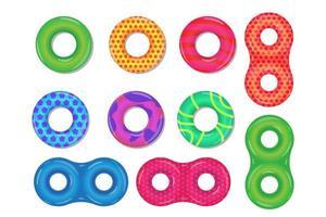 Varios tipos de anillos de natación de goma conjunto aislado sobre fondo blanco. vector