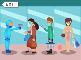 personas con máscara haciendo distanciamiento social mientras hacen cola en el centro comercial. personas sosteniendo una cesta de la compra y esperando el pago. Ilustración sobre la nueva normalidad. vector