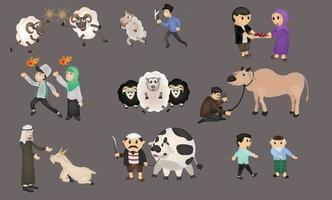 feliz eid mubarak colección personas concepto de carácter. diseño islámico para plantillas de página de destino, ilustración de libros para niños vector