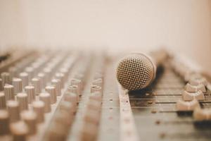 A microphone and mixing console