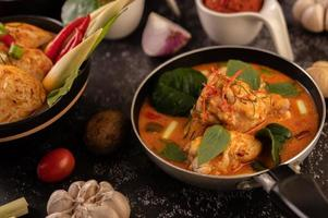 Curry made with chicken, chili, and basil and tomato photo