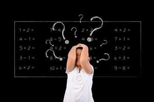Young boy questions math problem on chalkboard photo