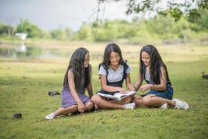 Young female students prepare for an exam in the park