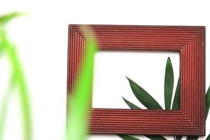 Picture frame and tropical leaves photo