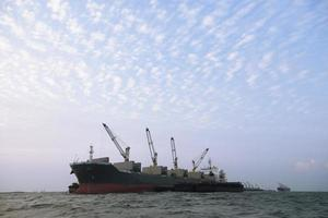 Large cargo ship on the sea