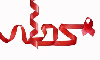 Red ribbon on white background photo