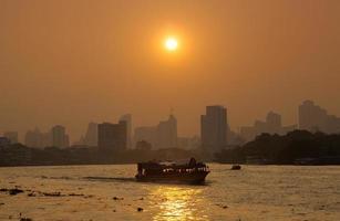 Boat traffic on the river, Bangkok city photo
