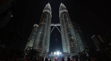 Kuala Lumpur, Malaysia, 2020 - Night view of Petronas Twin Towers