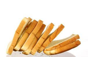 Bread slices on white photo