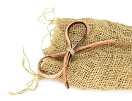 Burlap cloth and leather bow