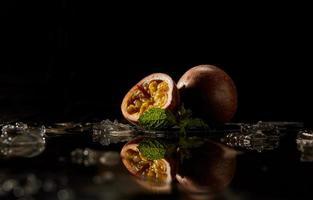 Sliced passion fruit photo