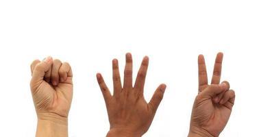 Hands making rock papers scissors photo