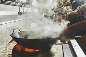 Food cooking in wok