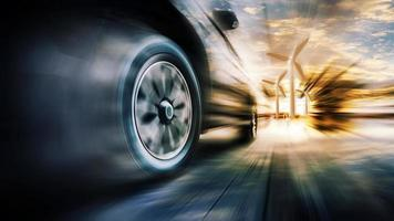 coche en movimiento rápido foto