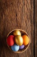 Colorful Easter eggs in a bowl