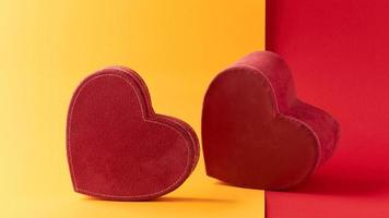 Hearts on yellow and red background