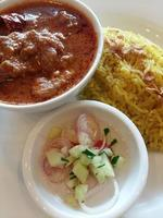 Chicken curry with basmati rice photo