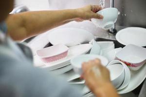 Washing pile of dishes
