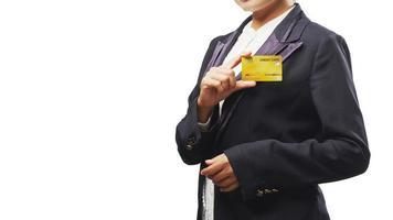 mujer de negocios, tenencia, tarjeta de crédito foto
