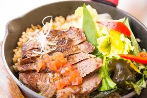 Fried rice with beef, Thai food photo