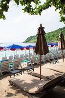 Umbrellas at the beach photo