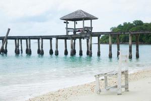 White wooden beach chair photo