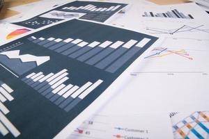 informes comerciales esparcidos sobre la mesa foto