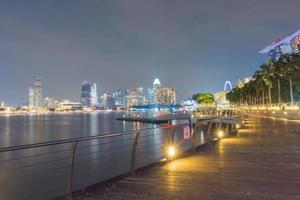 Pedestrian boardwalk by the bay in Singapore