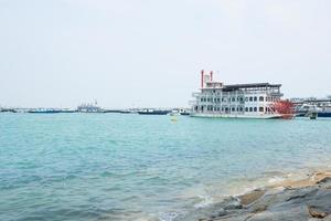 Ship parked along the coast of Singapore photo