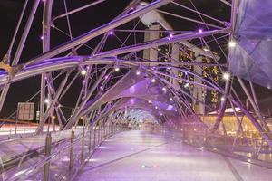 Bridge in Singapore city at night