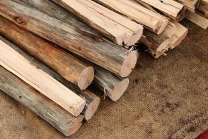 Firewood logs on cloth
