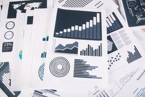 Business report of graphs and charts photo