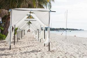 White tents on the beach in Thailand photo