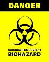 Póster de advertencia de peligro biológico covid-19. señales de precaución de peligro y riesgo biológico. brote de coronavirus. Manténgase alejado de la zona de peligro. No hay entrada. vector