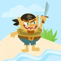 Pirate holding sword vector