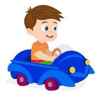 Little boy riding a baby car vector