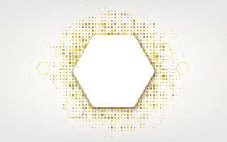 Golden hexagonal frame with glitter background vector